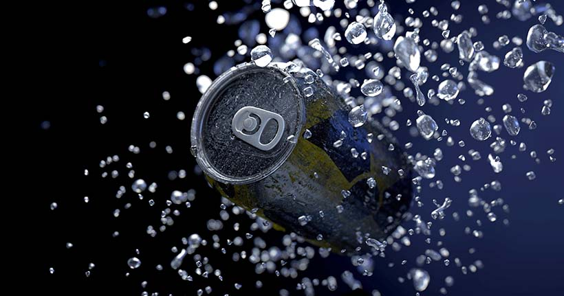 Canette de boisson énergisante.