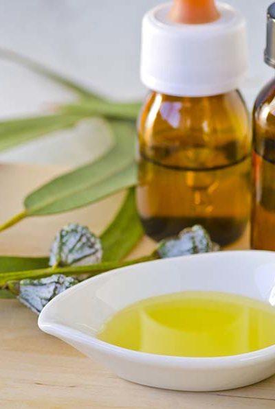 Feuilles d'eucalyptus et huile essentielle sur une planche à découper en bois.