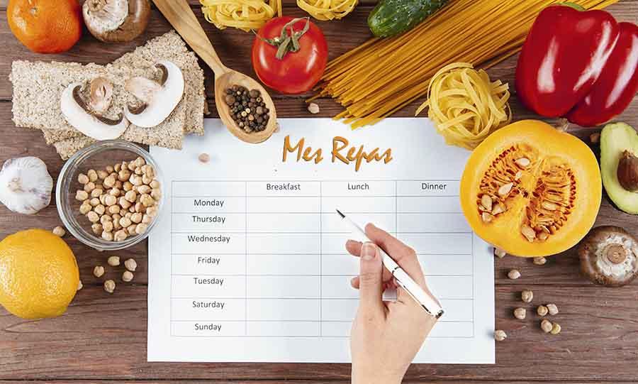 Liste de fruits et légumes pour un régime.