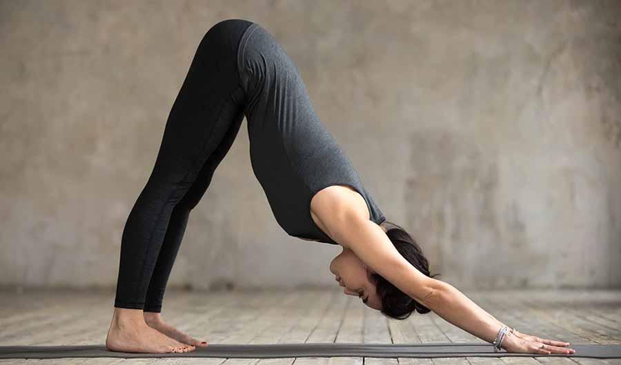 Posture de yoga du Chien tête en bas.